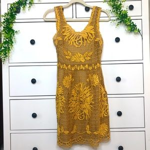 Yoana Baraschi Anthropologie Marigold Yellow Silk Lace Overlay Crochet Dress 4
